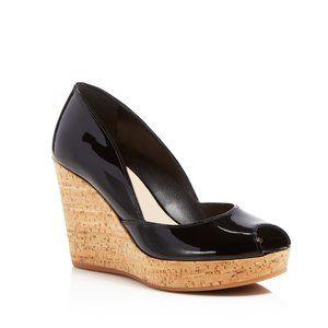 New! Via Spiga black patent leather & cork wedge 8